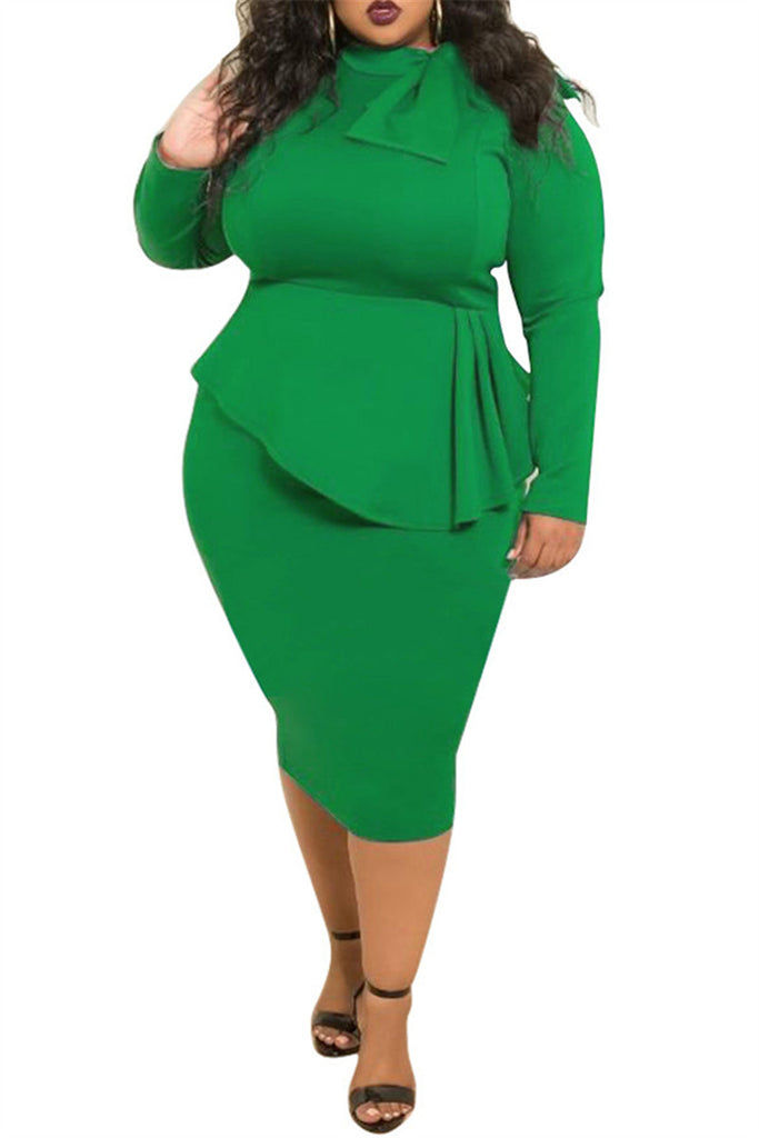 Plus Size Long Sleeve Bowknot Maxi Dress