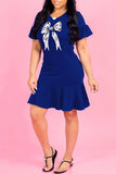 Bowknot Short Sleeve Solid Color Dress - WHATWEARS