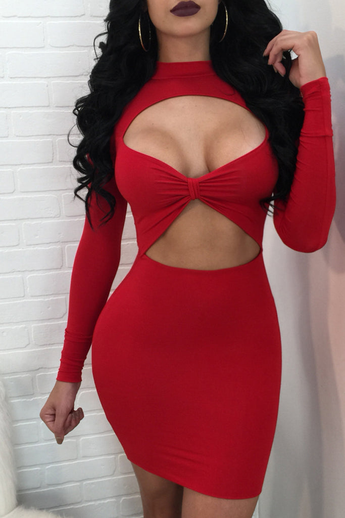 Sexy Solid Color Hollow Out Mini Dress