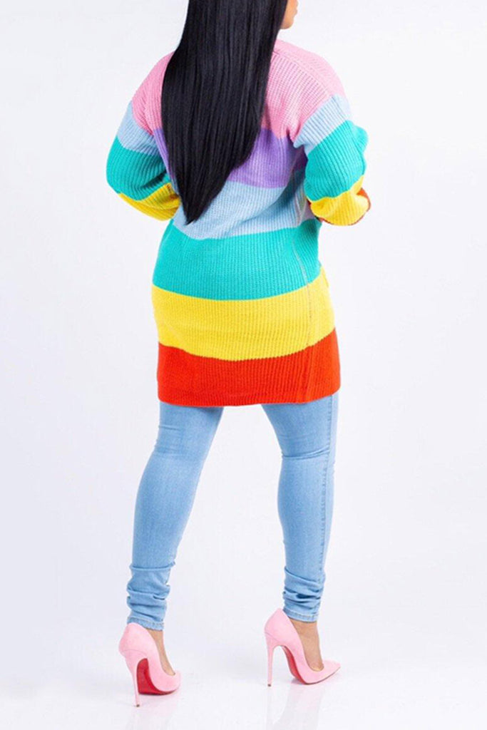 Knitted Wide Stripe Rainbow Color Pocket Long Sleeve Coat