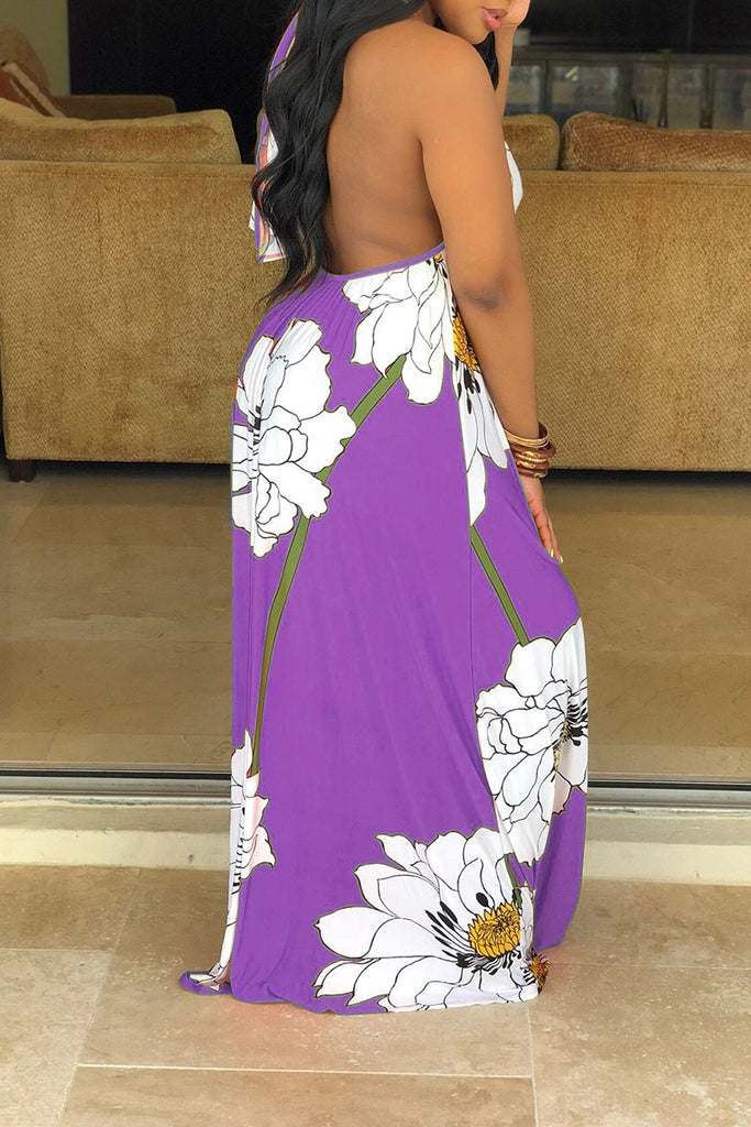 Halter Neck Floral Print Sleeveless Maxi Dress