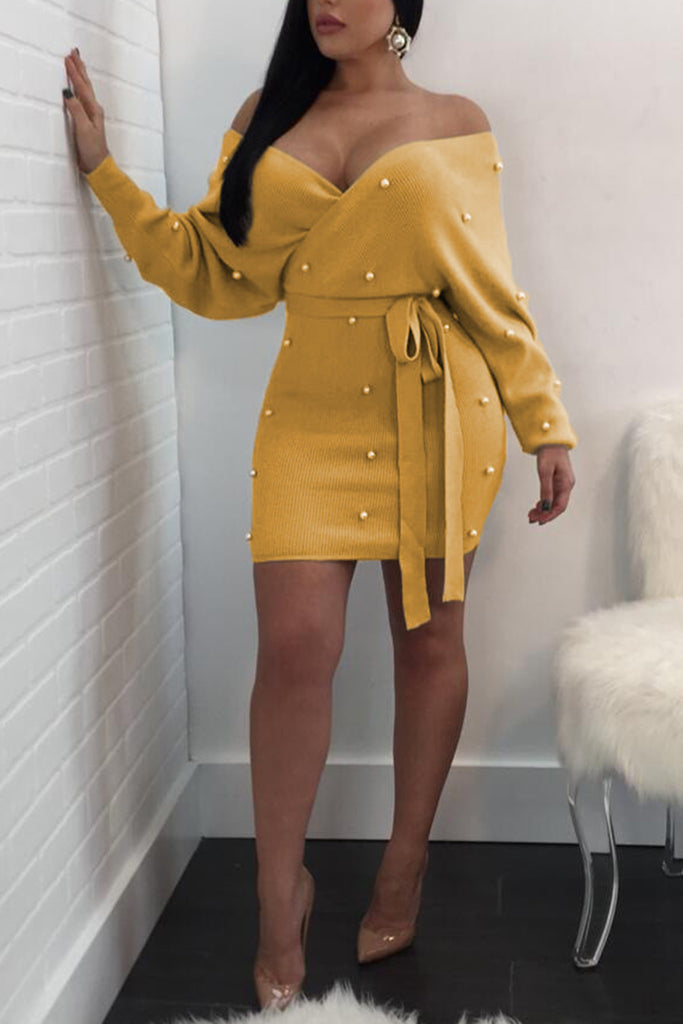 Solid Color Pearl Decorated Long Sleeve Mini Dress