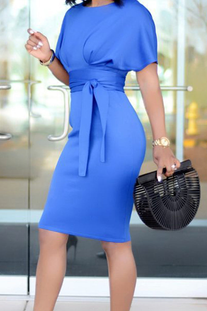Bandage Solid Color Short Sleeve Dress - WHATWEARS