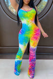 Scoop Neck Colorful Wrinkled Jumpsuit