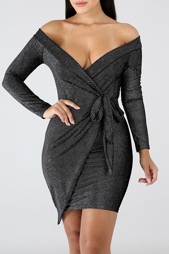 Off The Shoulder Long Sleeve Casual Mini Wrap Dress With Belt