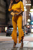 Solid Color Round Neck Knotted Street Style Top & Flare Pants