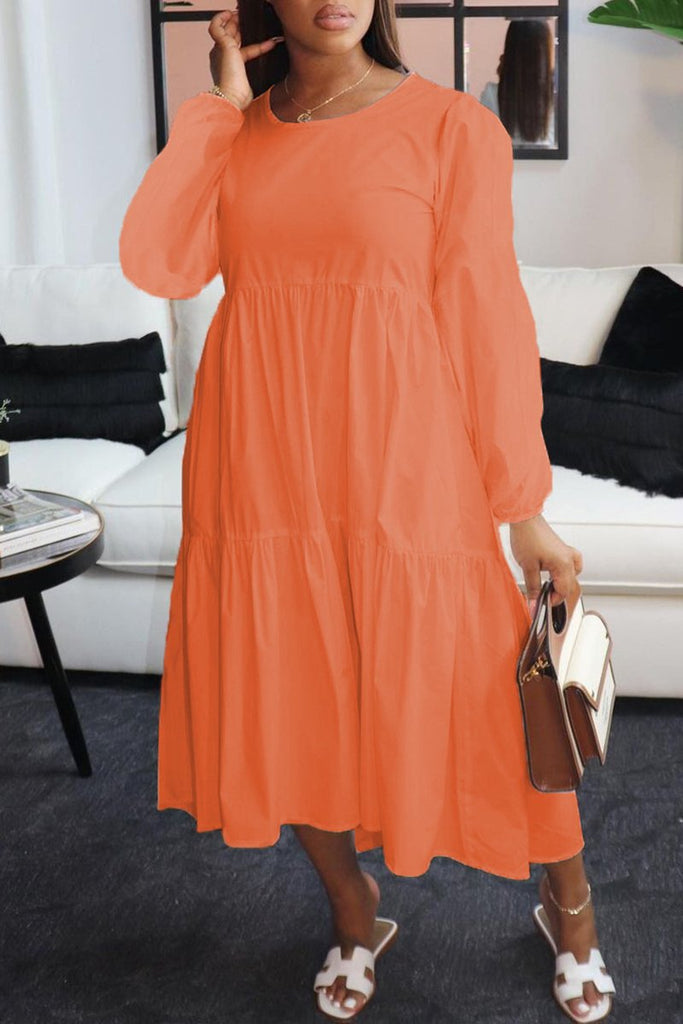 Round Neck Ruffled Hem Solid Color Dress