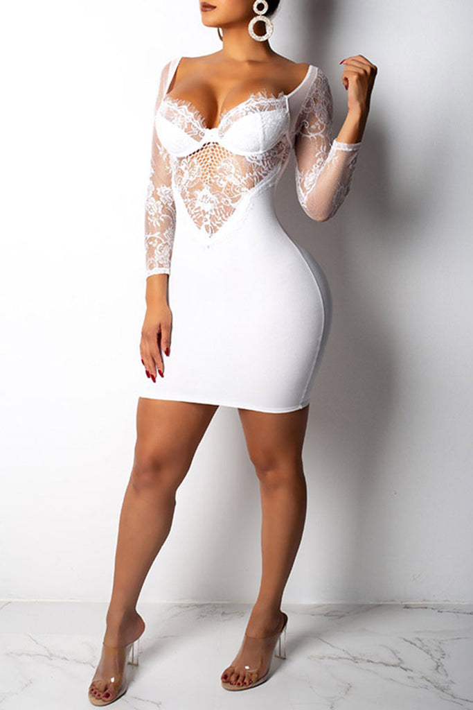 Lace Splicing Open Back Long Sleeve Solid Color Club Dress