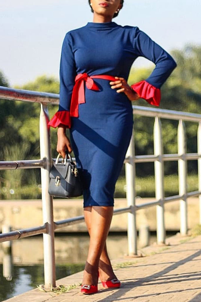 Flare Sleeve Belted High Neck Casual Bodycon Midi Dress