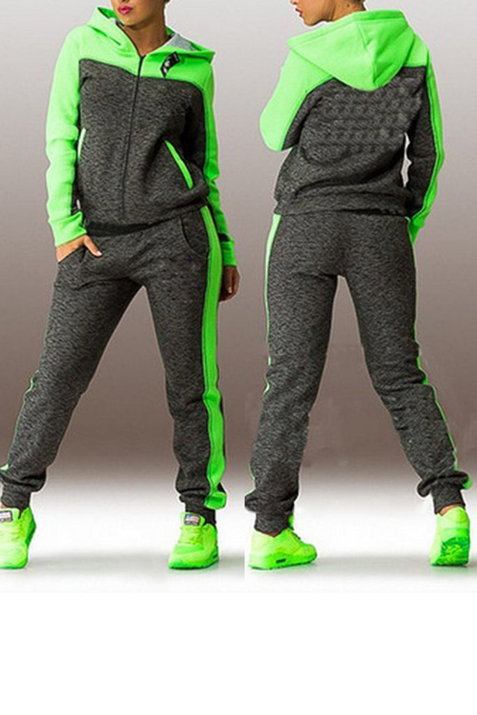 Mixed Color Hooded Casual Two-Piece Sets