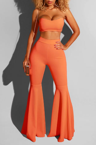 Strapless Bandage Solid Color Top & Flared Pants, whatwears  - buy with discount