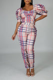 Bowknot Puff Sleeve Lattice Jumpsuit