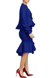 Fungus Edge Solid Color Round Neck Long Sleeve OL Two Piece Outfits