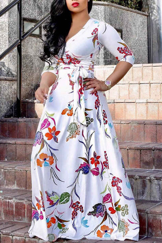 Plus Size V Neck Print Floral Maxi Dress