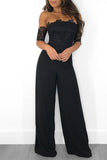 Lace Off The Shoulder High Waist Wide Leg Jumpsuit