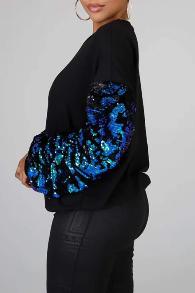 Sequin Patchwork Long Sleeve Blouse