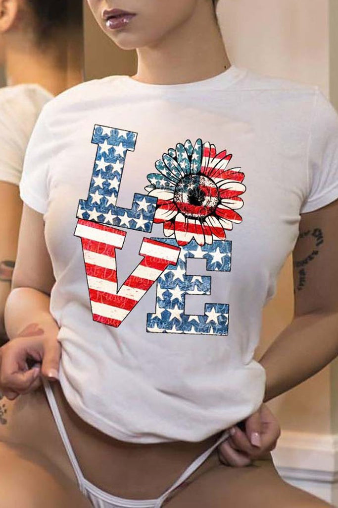 Round Neck American Flag Print T-shirt