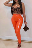 Sexy Solid Color PU Pants
