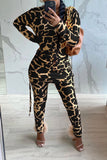Leopard Print Side Drawstring Two Piece Sets