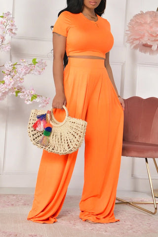Short Sleeve Solid Color Wide Leg Top & Pants, whatwears  - buy with discount