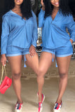 Plus Size Hooded Denim Long Sleeve Casual Top & Shorts