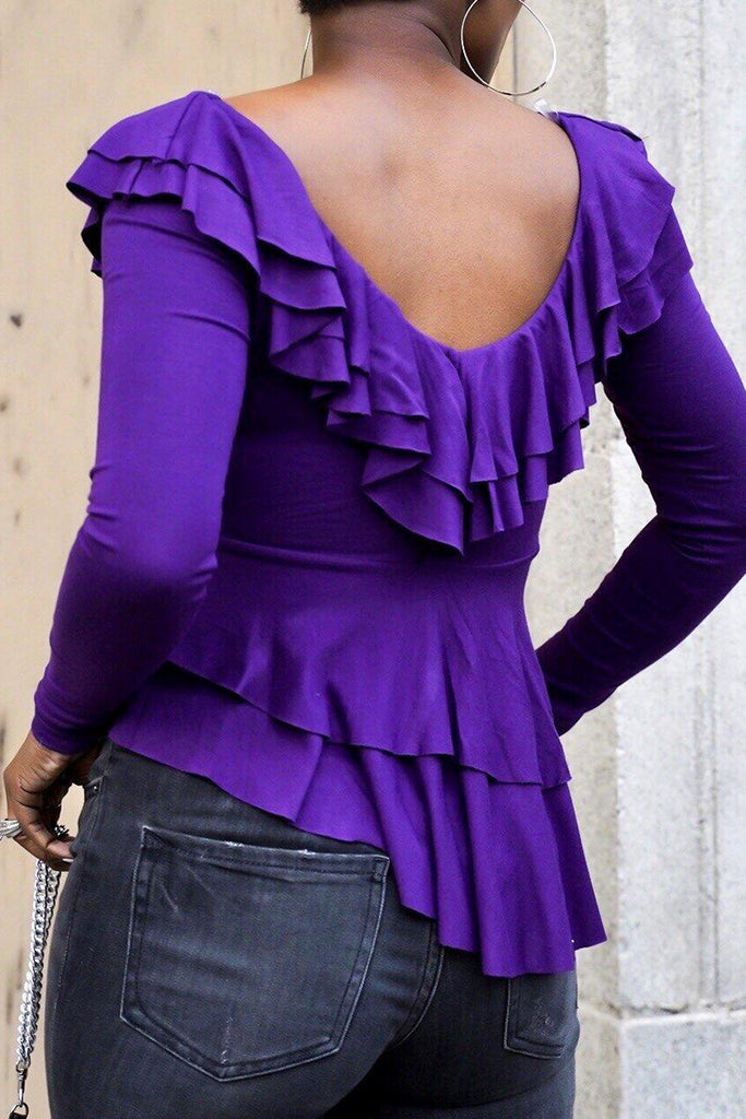 V-Neck Irregular Hem Ruffled Solid Color Casual Tired Blouse