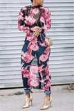 Floral Print  Long Sleeve Maxi Dress - WHATWEARS