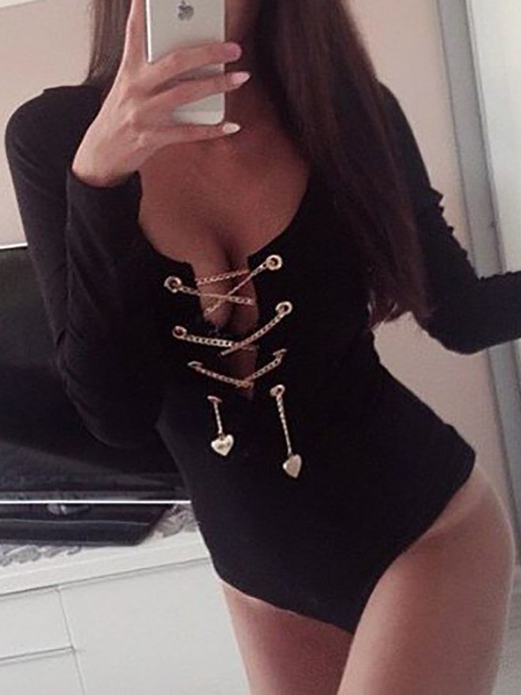 Chain Lace Up Body Suit - WHATWEARS