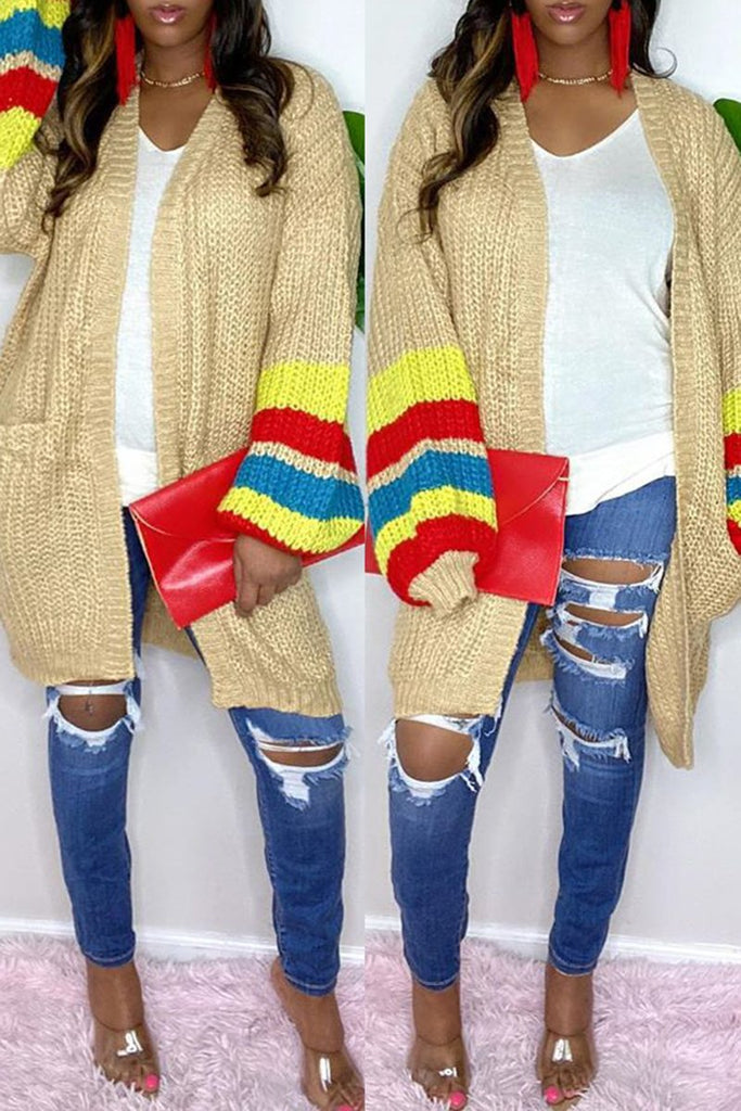 Knitted Patchwork Flared Sleeve Pocket Coat