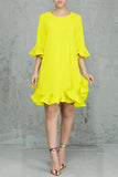 Trumpet Sleeve Ruffle Chiffon Casual Dress