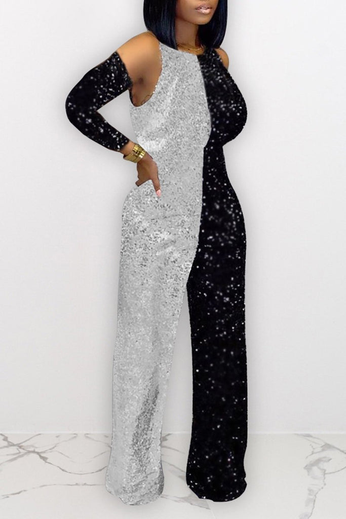 Color Splicing Sequins Cold Shoulder Jumpsuit