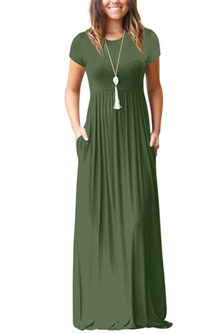 Short Sleeve Pocket Casual Maxi Dress, WhatWears  - buy with discount