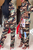 Color Patchwork Camouflage Printed Hooded Collar Waisted Jumpsuit