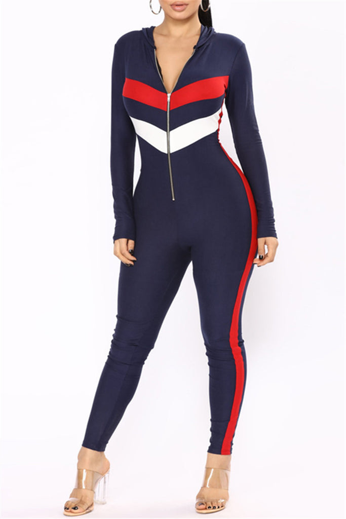 Striped Long Sleeve Zipper Front Hoodie Jumpsuit