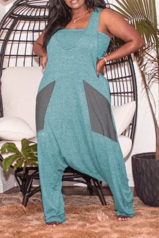 Plus Size Patchwork Wide Leg Casual Jumpsuit, whatwears  - buy with discount