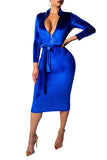 Zipper Collar Solid Color Long Sleeve Casual Midi Dress With Belt
