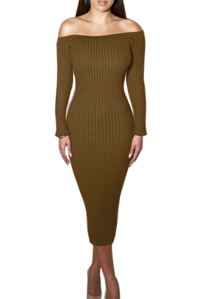 Sexy Solid Off The Shoulder Long Sleeve Midi Dress