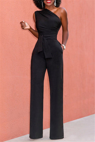 One Shoulder Sleeveless Jumpsuit фото