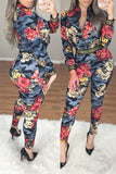 Side Geometric Print Splicing Zipper Up Floral Print Casual Two Piece Outfits