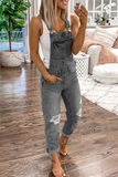 Distressed Denim Plus Size Jumpsuit