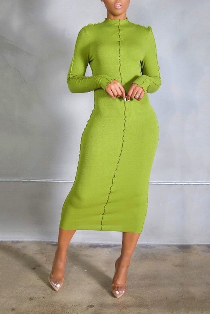 Decorative Edge Solid Color Casual Midi Dress