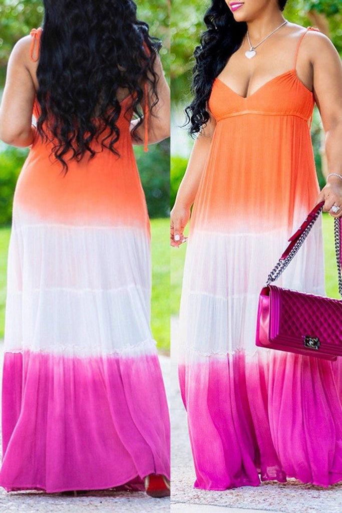 Deep V-Neck Sleeveless Mixed Color Maxi Dress - WHATWEARS