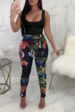 Flower Printed Sleeveless Casual Jumpsuit