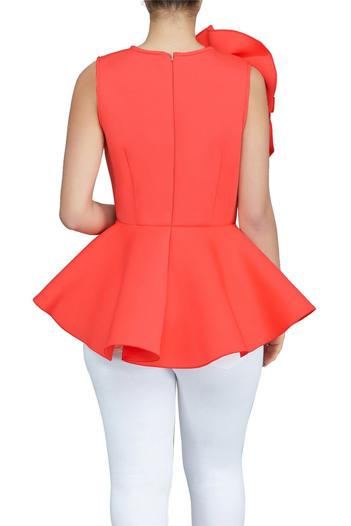 Ruffle Sleeveless Solid Color Top