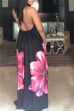 Halter Neck Flower Print Maxi Dress - WHATWEARS