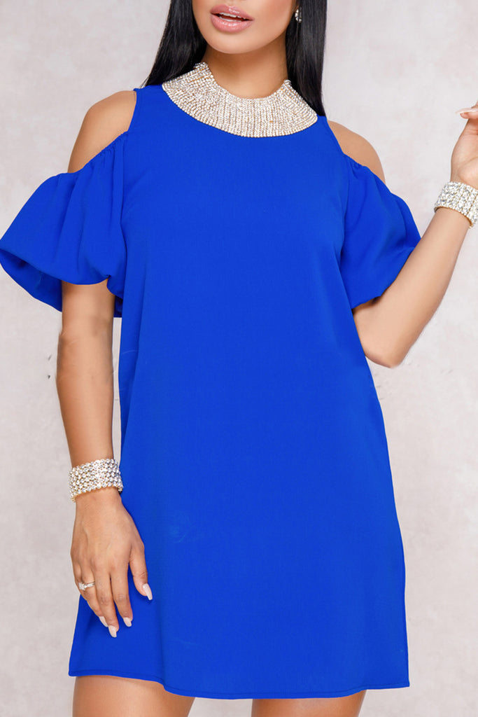 Plus Size Cold Shoulder Solid Color Mini Dress