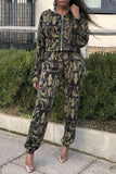 Hooded Collar Camouflage Print Zipper Up Casual Winter Two Piece Outfits