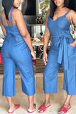 Open Back Wide Leg Belted Denim Jumpsuit