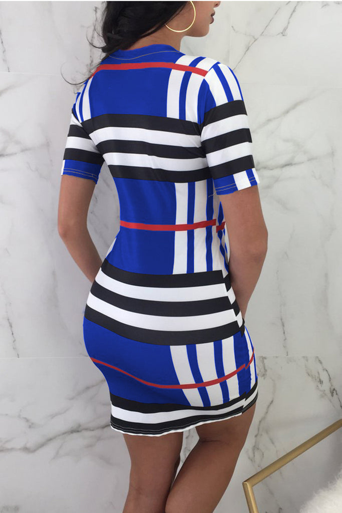Stripe Print Color Block Short Sleeve Mini Dress