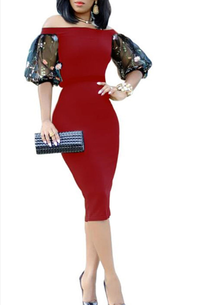 Off The Shoulder Net Yarn Splicing Bodycon Dress